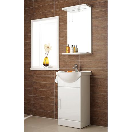 Alaska 450mm Vanity Unit with Illuminated Mirror (High Gloss White - Depth 300mm)