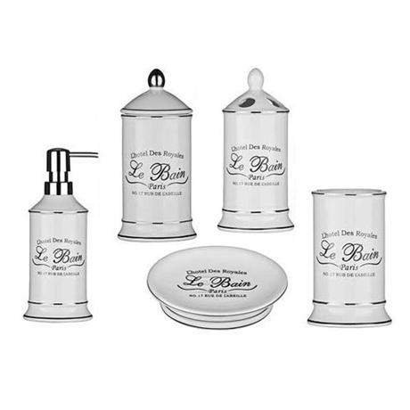 Admirable 5 Piece Le Bain White Ceramic Bathroom Set Home Interior And Landscaping Ologienasavecom