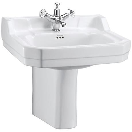 Burlington Edwardian Medium Basin and Semi Pedestal - Various Tap Hole Options
