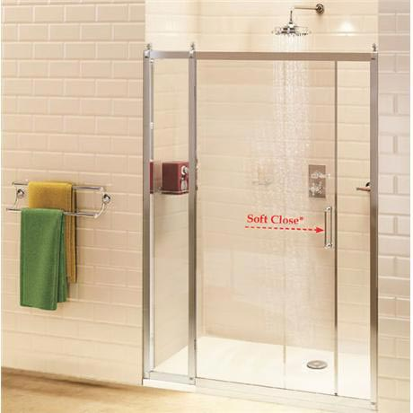 Burlington Traditional Soft Close Recessed Sliding Shower Door with Inline Panel