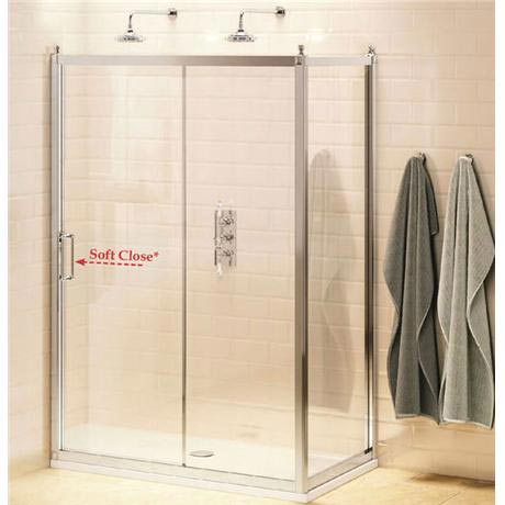Burlington Traditional Soft Close Sliding Shower Door with Side Panel