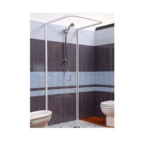 Croydex Magnetic Hemmed U Shaped and Wall Profile Shower Curtain Rail - Silver