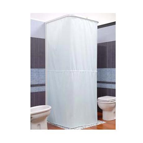 Croydex Textile Shower Curtain for use with U Shaped Rail and Wall Profile - White