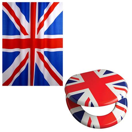 union jack toilet seat. Euroshowers  Union Jack Pack Toilet Seat Shower Curtain at