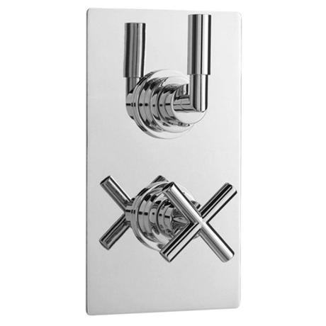 Helix Concealed Thermostatic Twin Shower Valve with Square Plate