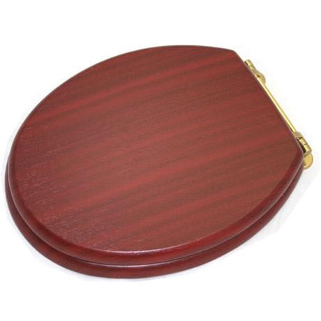New Generation Platinum Toilet Seat with Brass Hinges - Mahogany