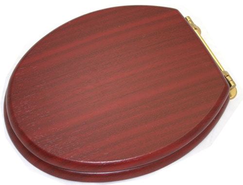 New Generation Platinum Toilet Seat with Brass Hinges - Mahogany Large Image
