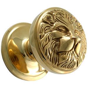 Polished Brass Lion Face Centre Door Knob - CD-386