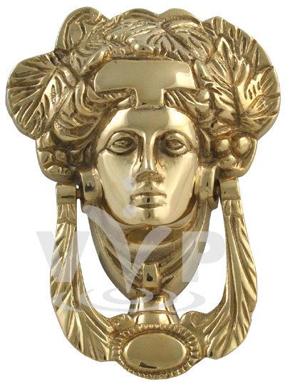 Polished brass grecian goddess door knocker k 038 at for Door knockers uk