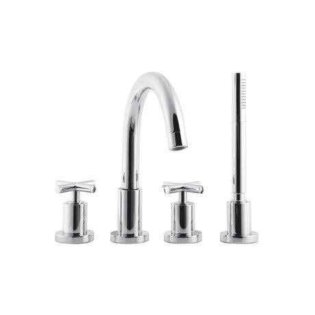 Minimalist Helix cross head 4 Tap Hole Deck Mounted Bath Shower Mixer - PE304