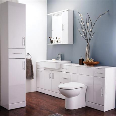 Alaska 7 Piece Vanity Unit Bathroom Suite (High Gloss White - Depth 330mm)