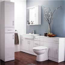 Alaska 7 Piece Vanity Unit Bathroom Suite (High Gloss White - Depth 330mm) Medium Image