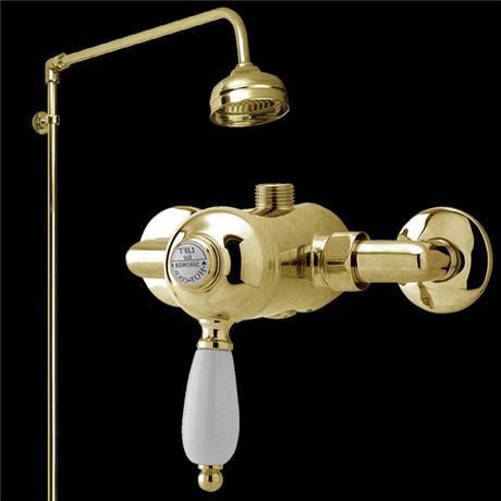 Nostalgic manual shower valve w rigid riser victorian for Chatsworth bathroom faucet parts
