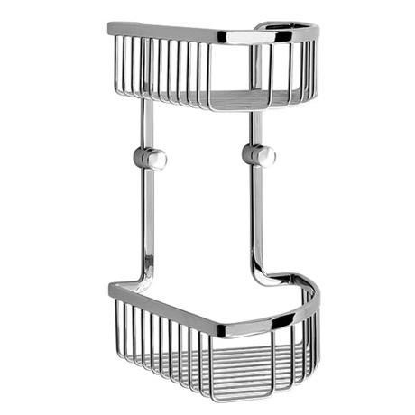 Smedbo Loft - Polished Chrome Double Corner Soap Basket - LK377