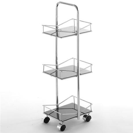 3 tier square black glass bathroom trolley at victorian for Black glass bathroom accessories