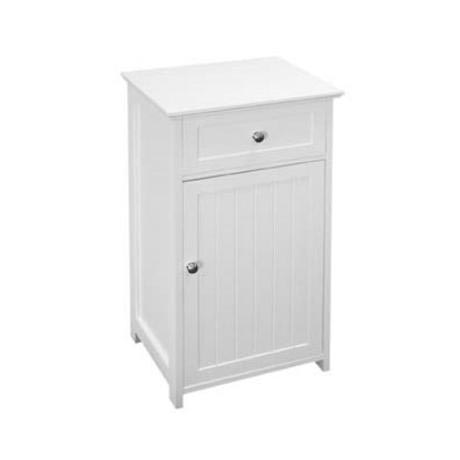 White Wood Floor Standing Storage Cupboard with Top Drawer - 2400944