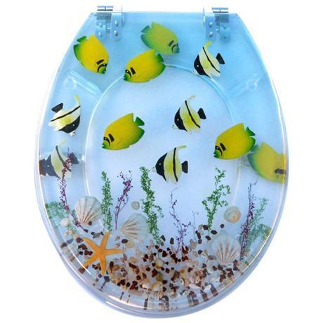 Tropical Fish Clear Resin Toilet Seat - 81110
