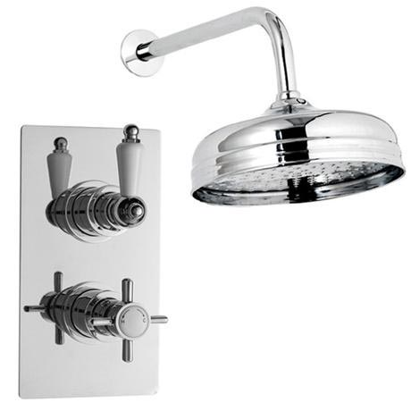 "Ultra Beaumont Twin Concealed Thermostatic Valve w/ 8"" Apron Fixed Head"
