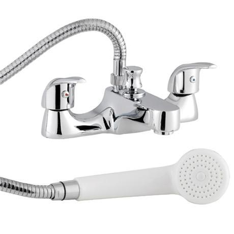 D-Type Bath Shower Mixer with Shower Kit - Chrome - DTY334