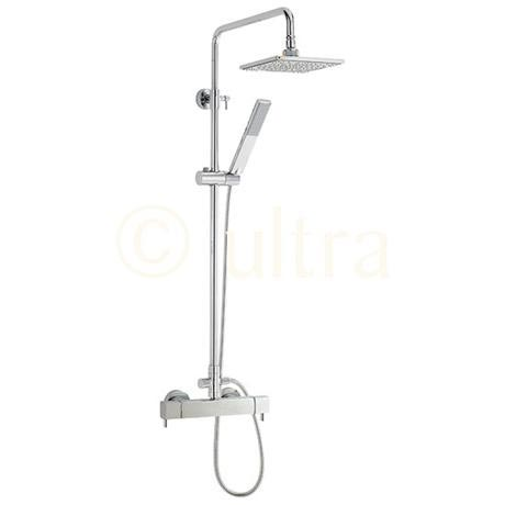 Ultra Quadro Thermostatic Bar Valve with Telescopic Shower Kit - Chrome