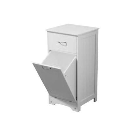 White Wood Tall Floorstanding Laundry Cabinet at Victorian Plumbing UK