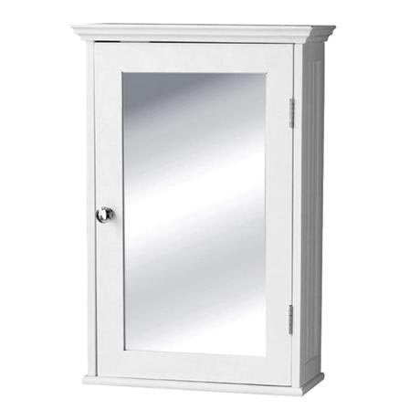 White Wood Cabinet with Mirrored Door - 2400942