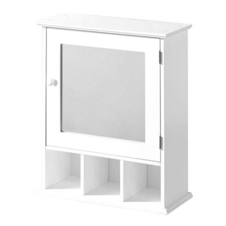 White Wood Wall Cabinet with 3 Compartments and Mirrored Door - 2401451
