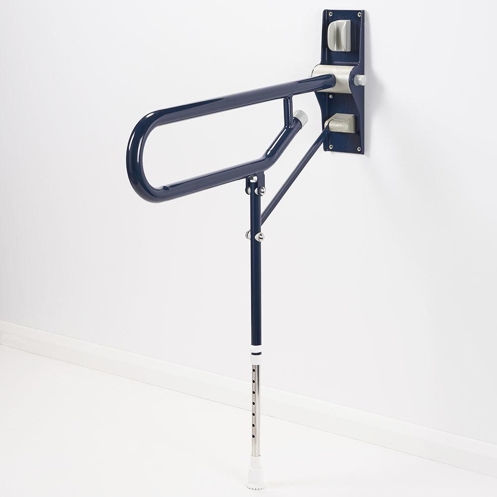 AKW Fold-Up Toilet Support Grab Rail with Adjustable Leg - Dark Blue
