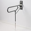 AKW Fold-Up Toilet Support Grab Rail with Adjustable Leg - Mid Grey profile small image view 1