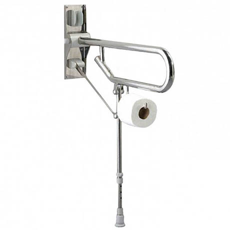 AKW Fold-Up Toilet Support Grab Rail with Adjustable Leg - Stainless Steel