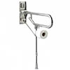 AKW Fold-Up Toilet Support Grab Rail with Adjustable Leg - Stainless Steel profile small image view 1