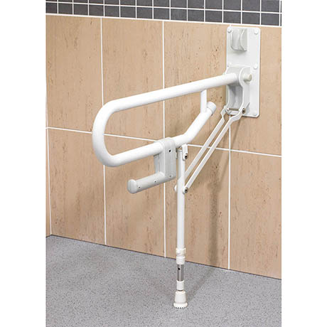 AKW Fold-Up Toilet Support Grab Rail with Adjustable Leg - White