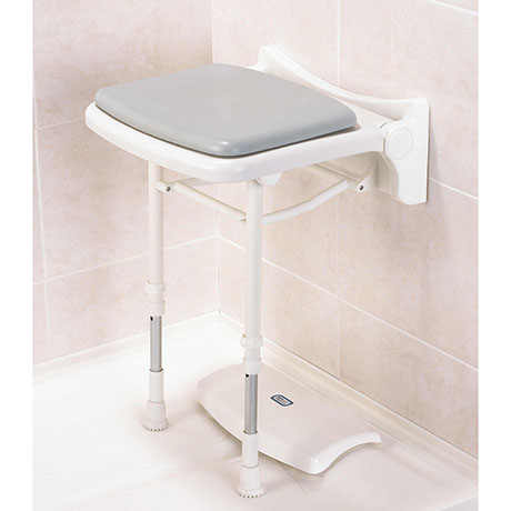 AKW 2000 Series Compact Fold-Up Shower Seat with Pad - Grey