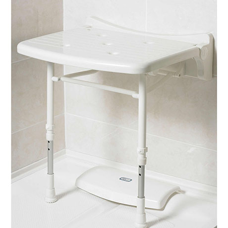 AKW 2000 Series Compact Fold-Up Shower Seat - White
