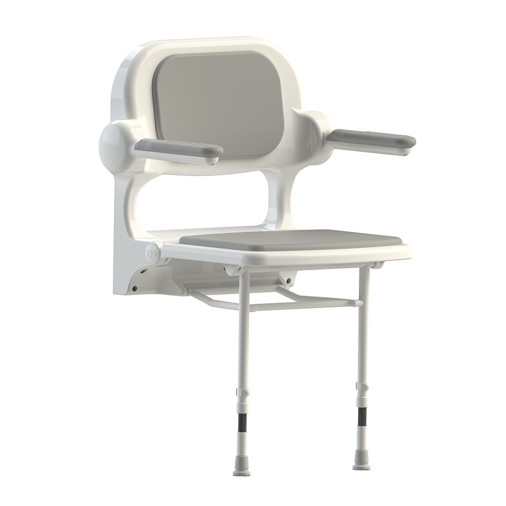 AKW 2000 Series Standard Fold-Up Shower Seat with Grey Padded Arms and Back