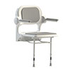 AKW 2000 Series Standard Fold-Up Shower Seat with Grey Padded Arms and Back profile small image view 1