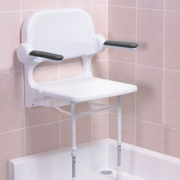 AKW 2000 Series Standard Fold-Up Shower Seat with Grey Arm Pads