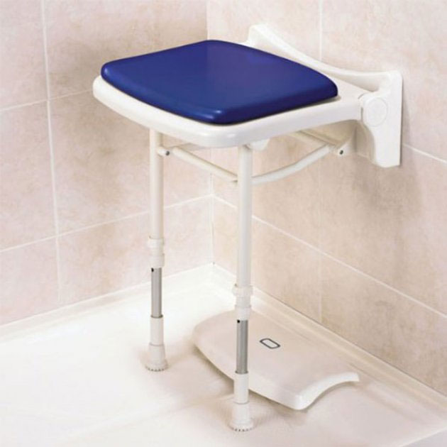 AKW 2000 Series Compact Fold-Up Shower Seat with Pad - Blue