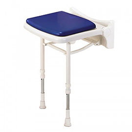 AKW 2000 Series Standard Fold-Up Shower Seat with Pad - Blue