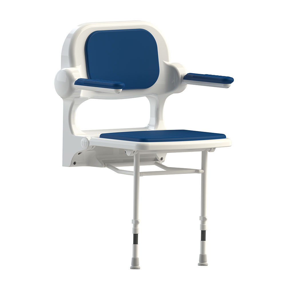 AKW 2000 Series Standard Fold-Up Shower Seat with Blue Padded Arms and Back