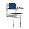 AKW 2000 Series Standard Fold-Up Shower Seat with Blue Padded Arms and Back profile small image view 1
