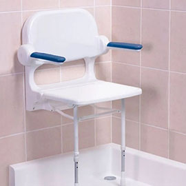 AKW 2000 Series Standard Fold-Up Shower Seat with Blue Arm Pads