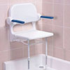 AKW 2000 Series Standard Fold-Up Shower Seat with Blue Arm Pads profile small image view 1
