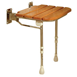 AKW Wooden Slatted Fold-Up Seat with Support Legs