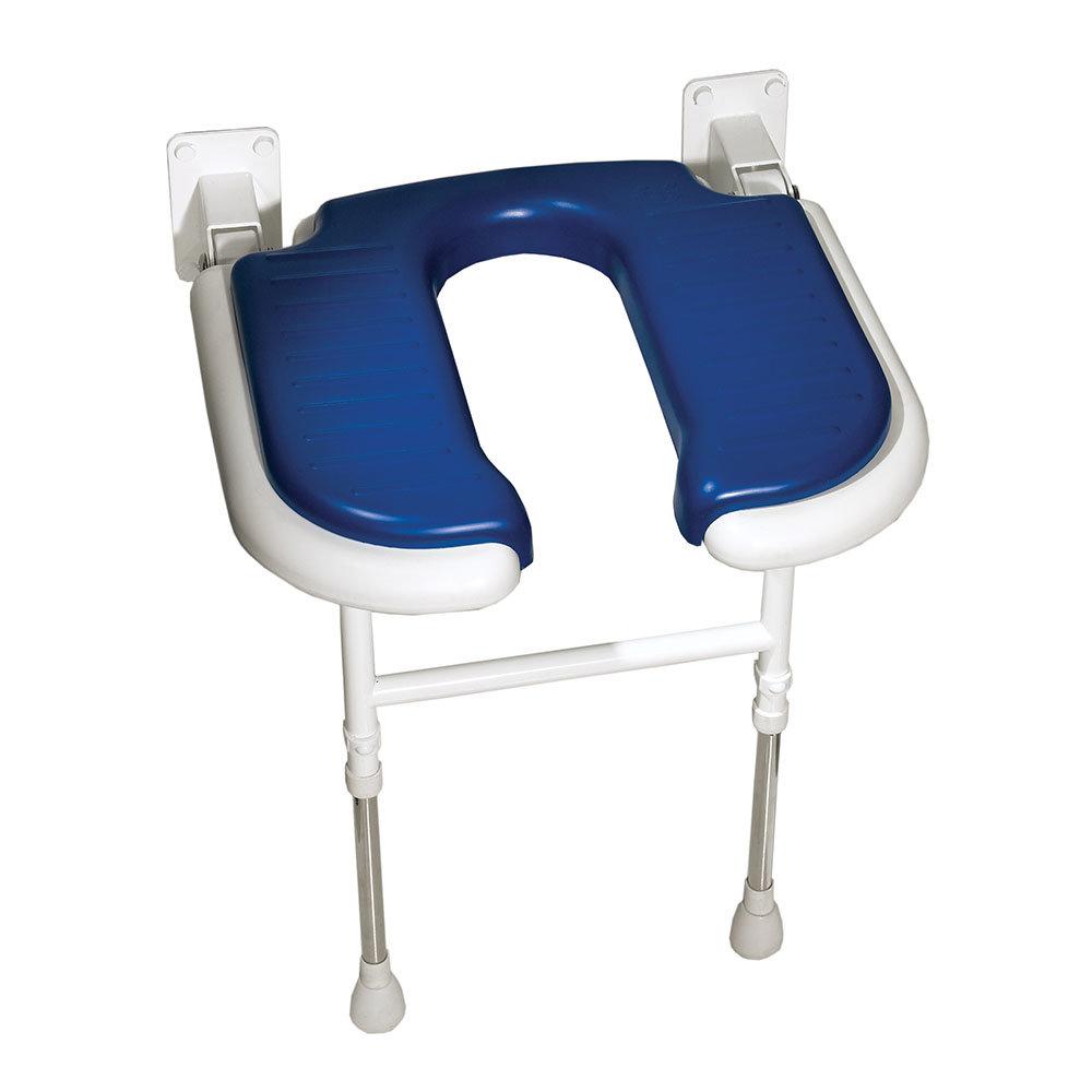 AKW 4000 Series Standard Horseshoe Fold-Up Shower Seat - Blue