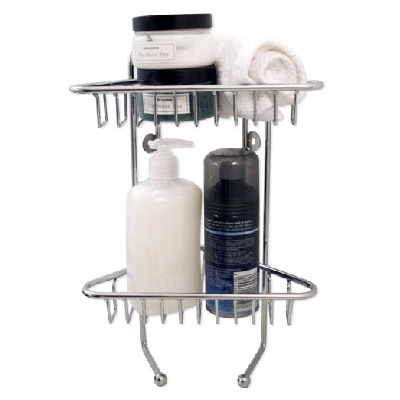 Lloyd Pascal - 2 Tier Wall Mounted Corner Basket - Chrome - 053.02.062 Large Image
