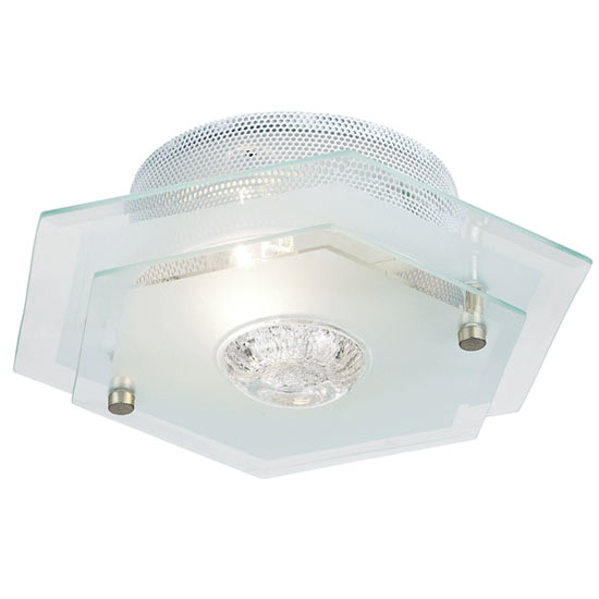 Endon - Hexagon Two Tiered Glass Ceiling Light Fitting - 064-27 profile large image view 1