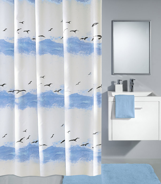 Kleine Wolke - Seaside Polyester Shower Curtain - W2400 x H1800 - Blue Large Image