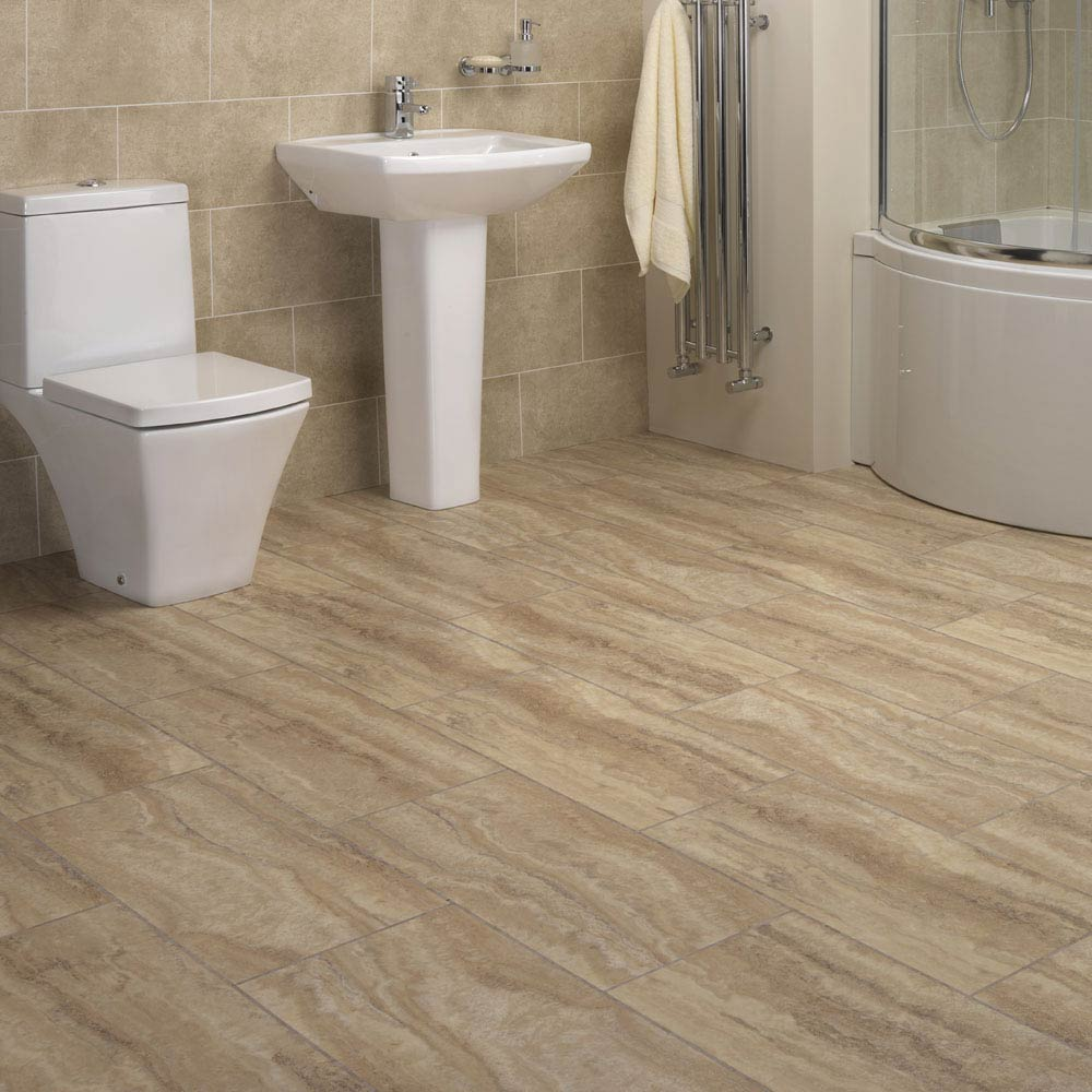 Mere Reef InterGrip Vinyl Floor Tiles (Pack of 12) - Villa Marble  In Bathroom Large Image