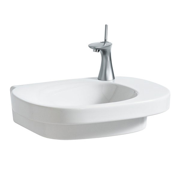 Laufen - Mimo 1 Tap Hole Asymmetric Basin with Concealed Overflow - 2 x Size Options Large Image